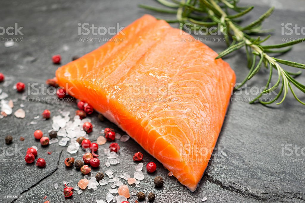 Fillet of Rainbow Trout with Salt and Pepper stock photo