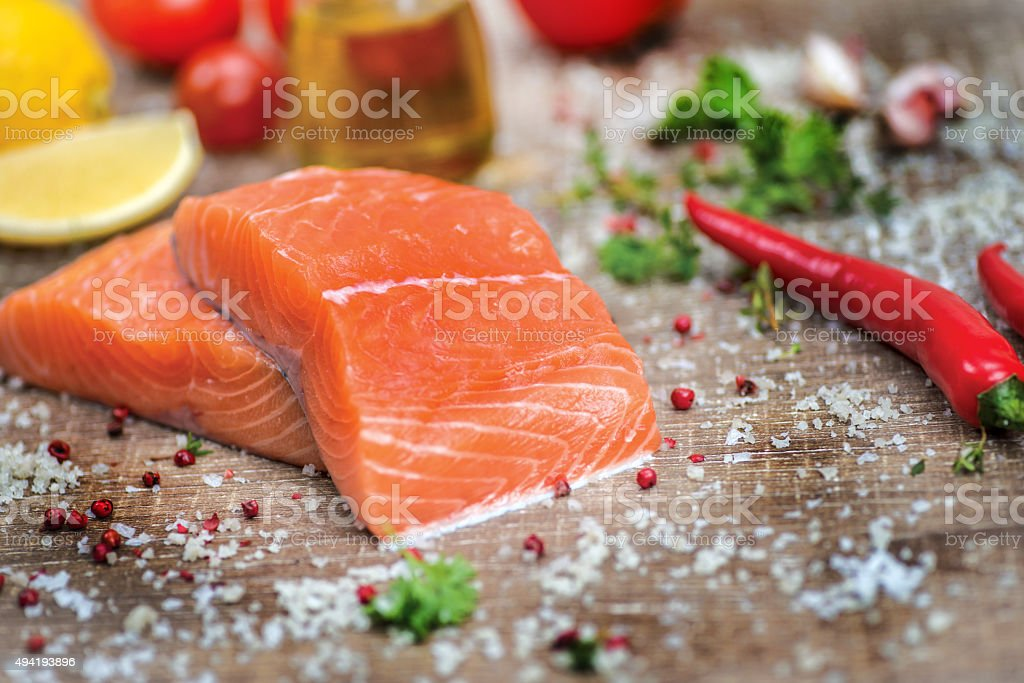 Fillet of salmon. Fresh and beautiful salmon fillet stock photo