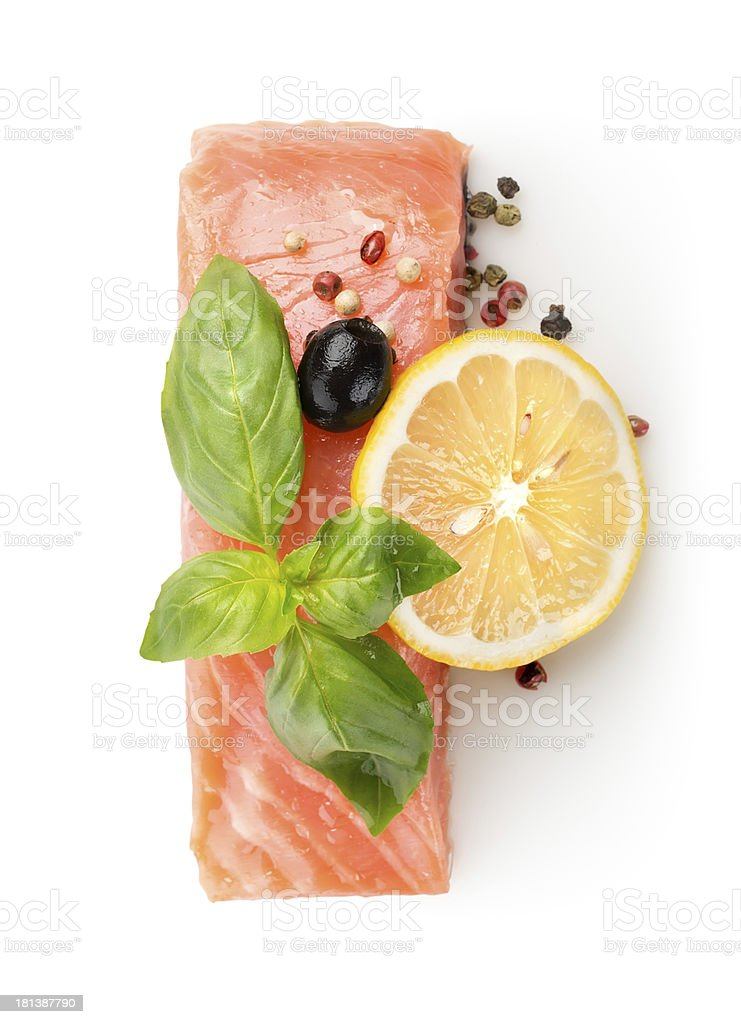 Fillet of salmon with lemon and olive royalty-free stock photo