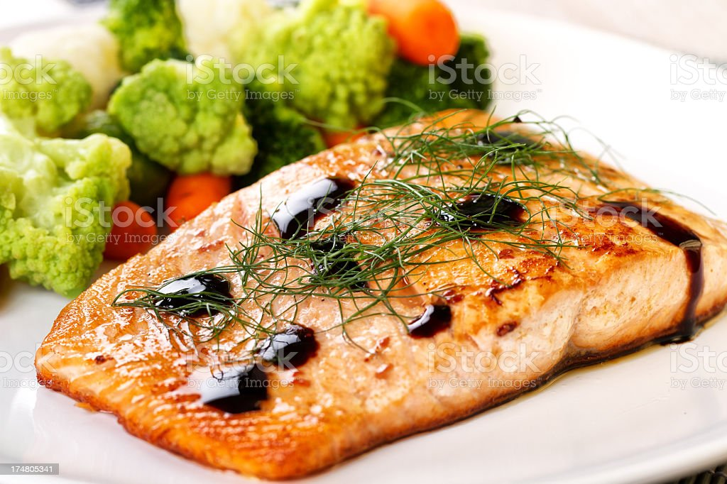 Fillet of salmon with mixed vegetables royalty-free stock photo