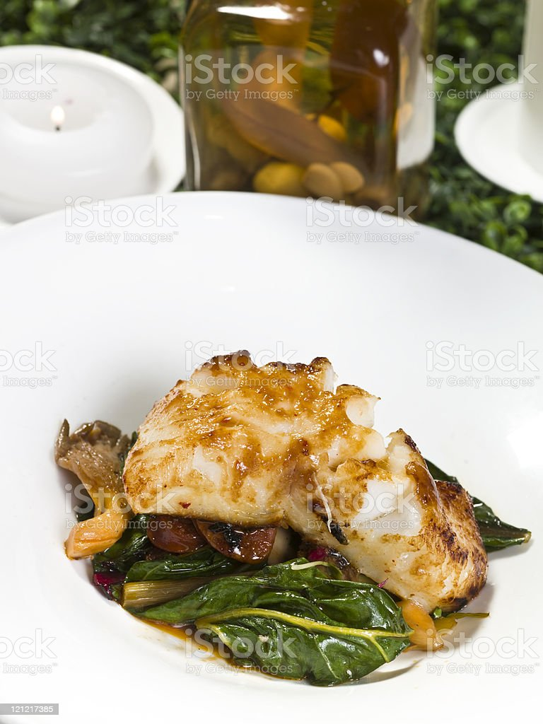 Fillet of Sea Bass in Miso Sauce royalty-free stock photo