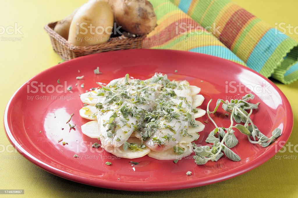 Fillet of sea bass with potatoes royalty-free stock photo