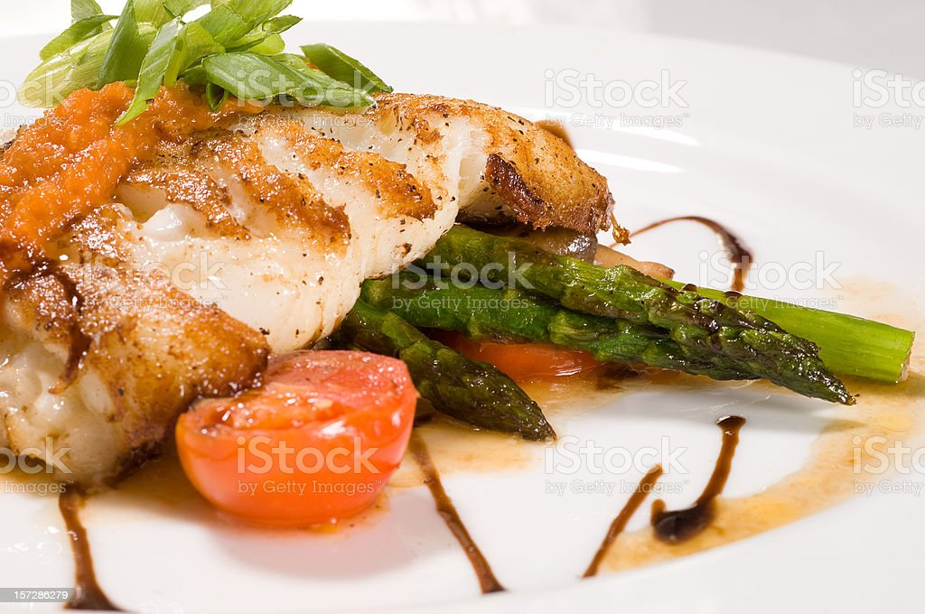 Fillet of white fish and vegetables 2 stock photo