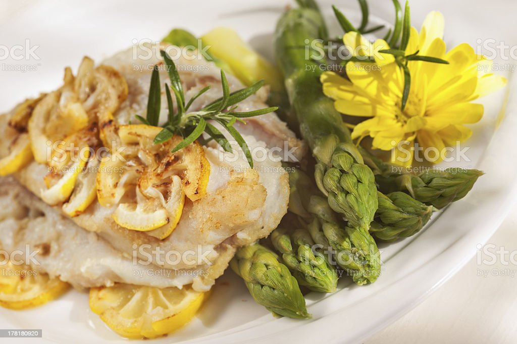 Fillet of white fish and vegetables royalty-free stock photo