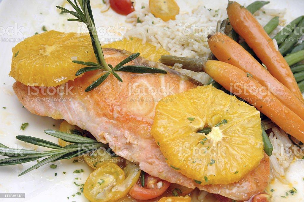 Fillet of Wild Salmon a L?orange royalty-free stock photo