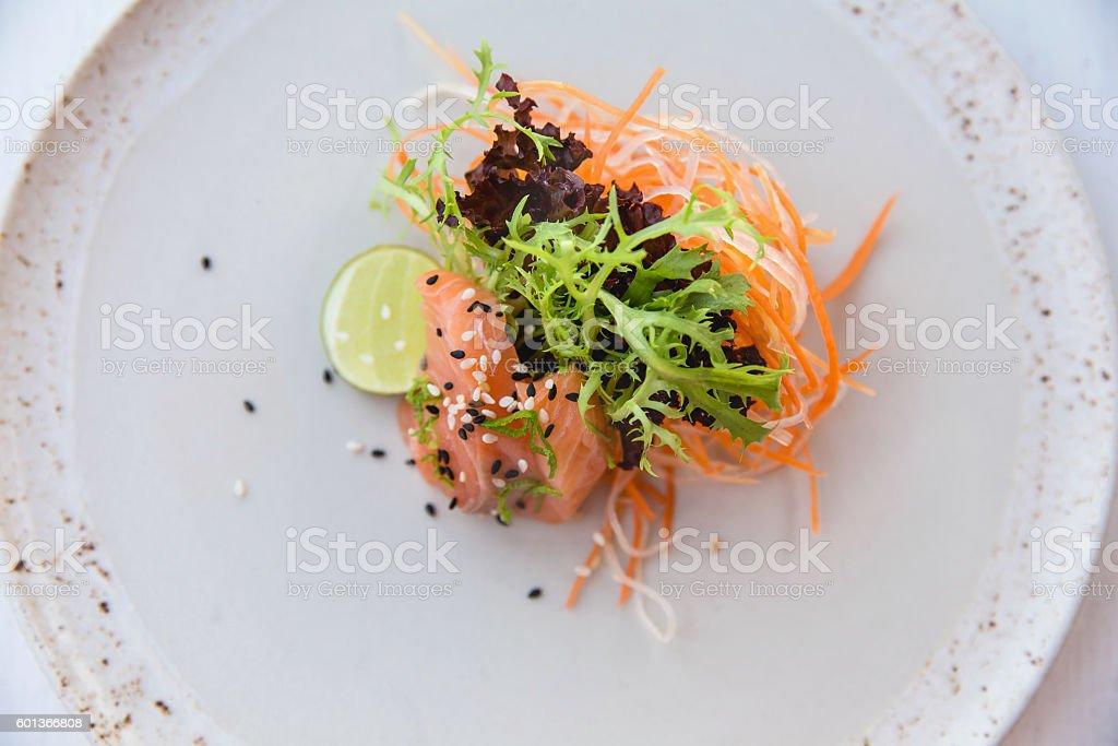 FIllet salmon sashimi salad stock photo