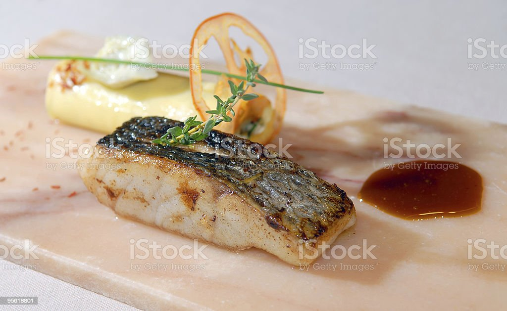 Fillet sea bass and canneloni royalty-free stock photo