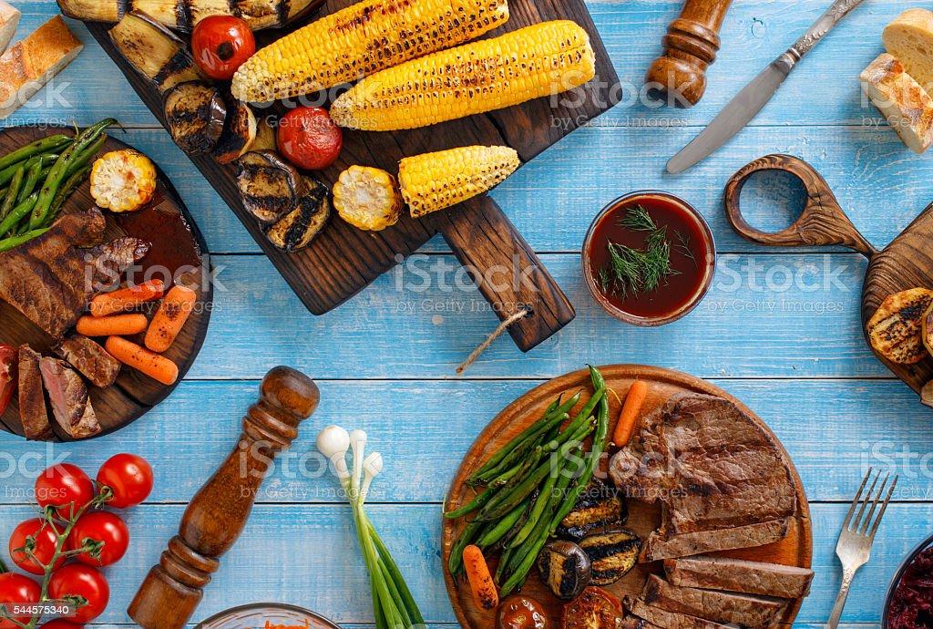 Fillet steak grilled served with grilled vegetables stock photo