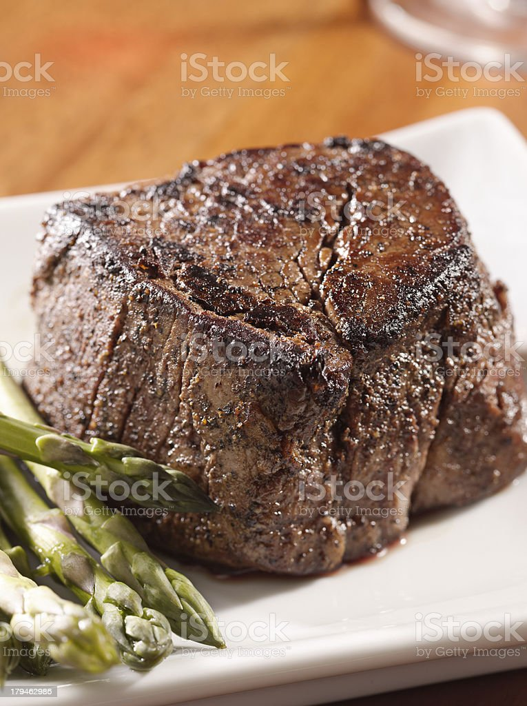 fillet steak with asparagus stock photo
