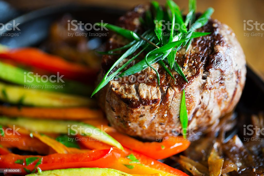 Fillet with grill veggies stock photo