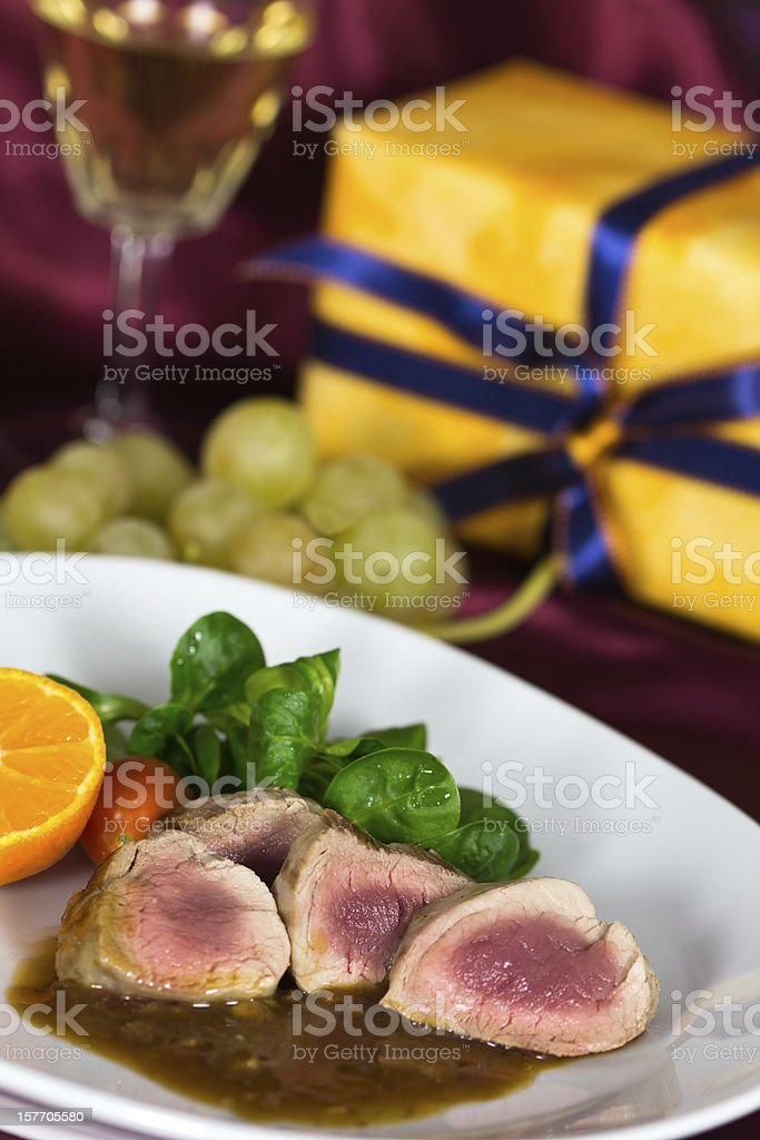 Fillet with Sauce and Corn Salad stock photo