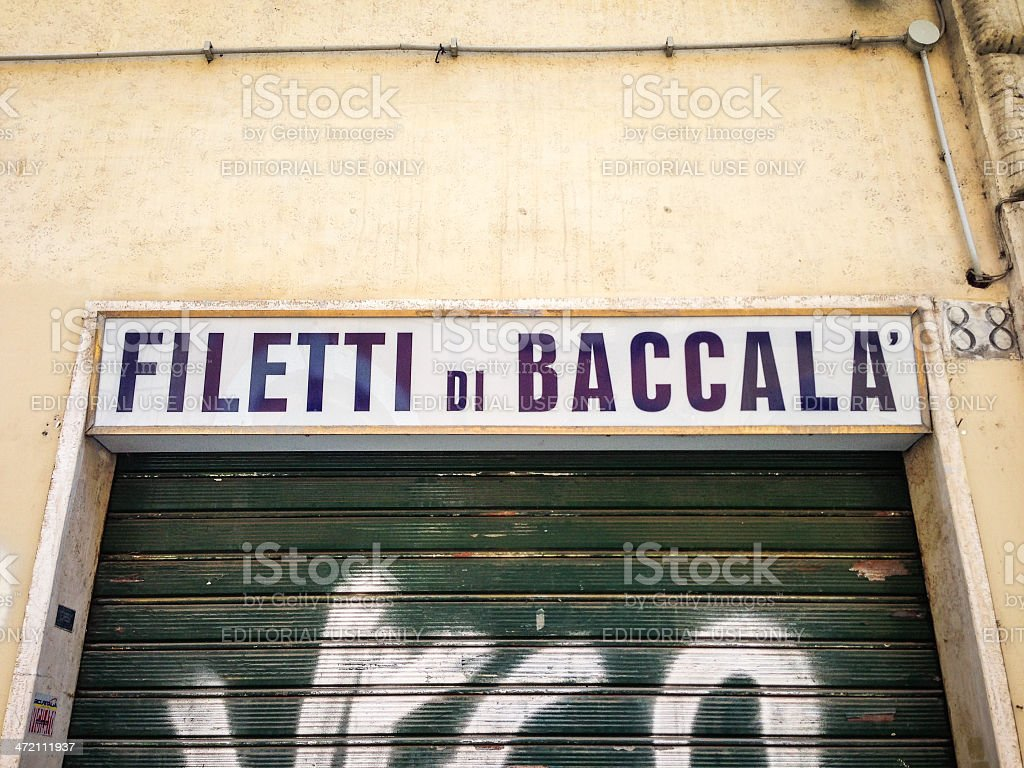 Filetti di Baccal? shop sign in Rome stock photo