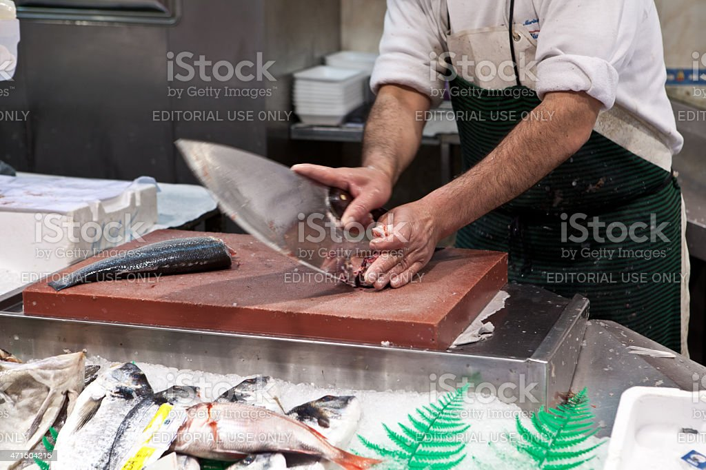 filletting a fish stock photo