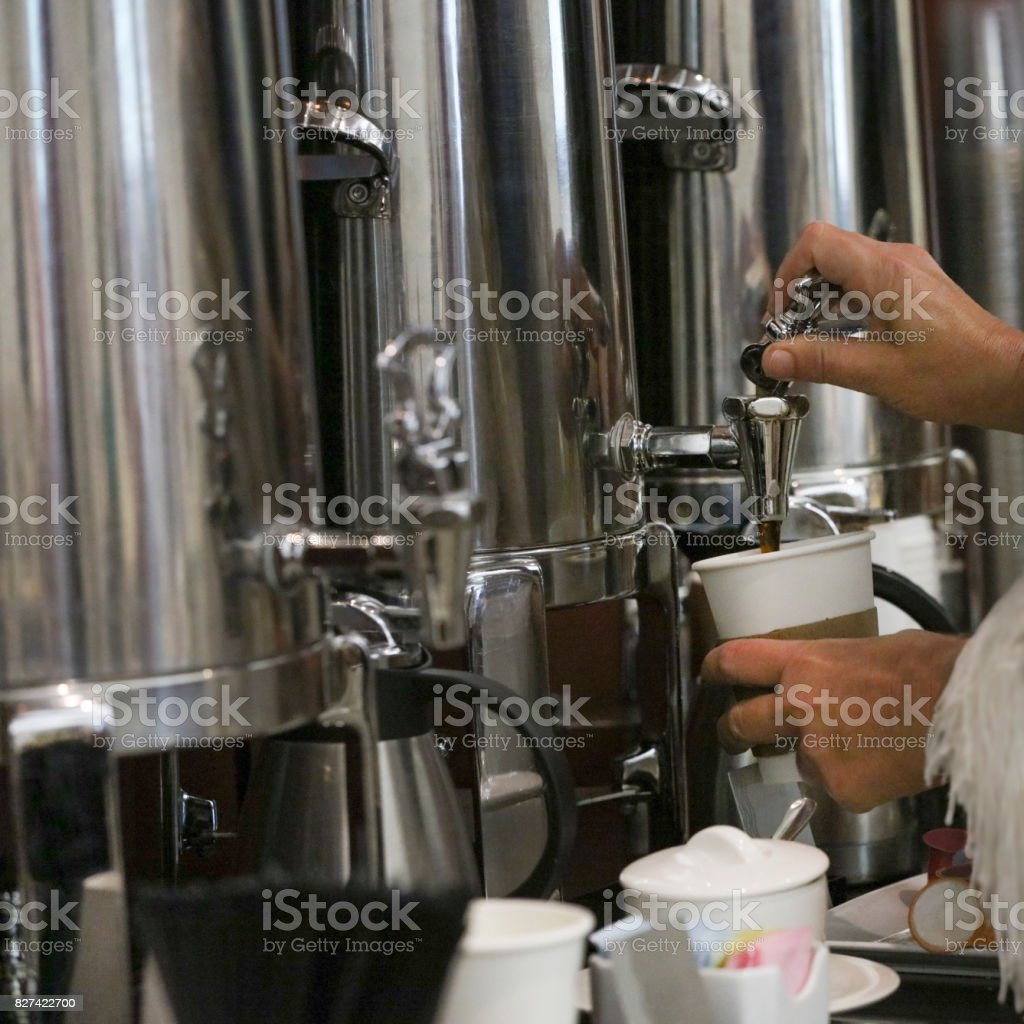 Filling A Cup of Coffee stock photo