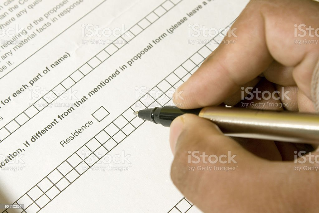 Filling Application Form royalty-free stock photo