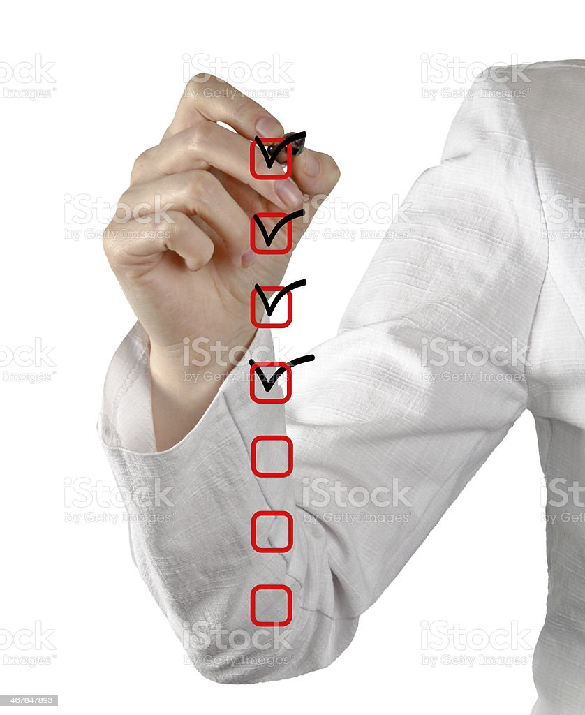 Filling Check list stock photo