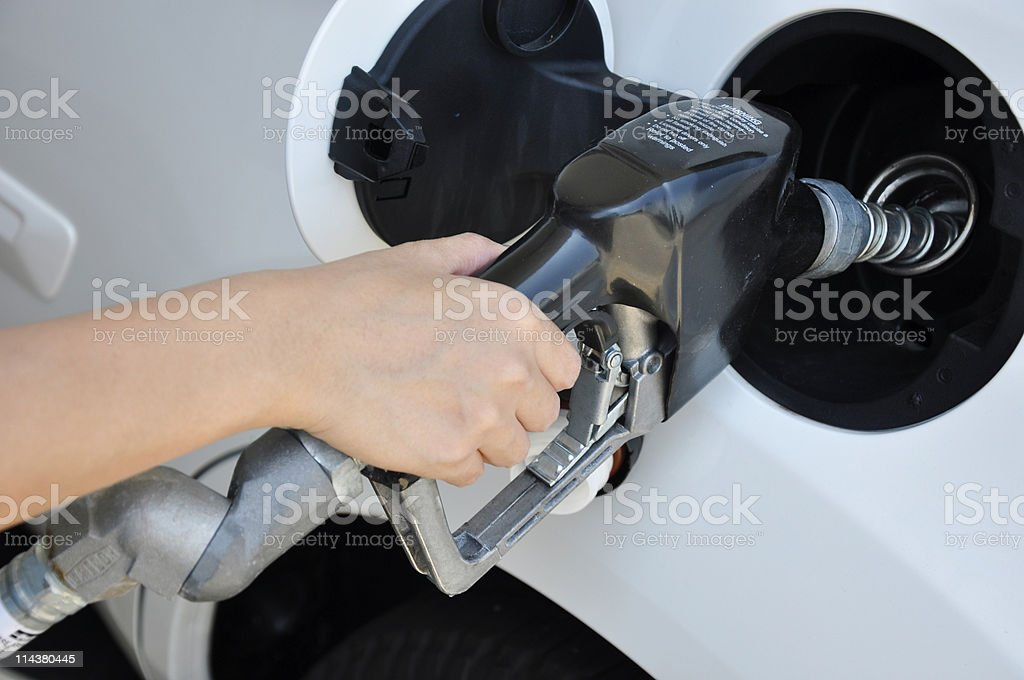 filling gas at the station royalty-free stock photo