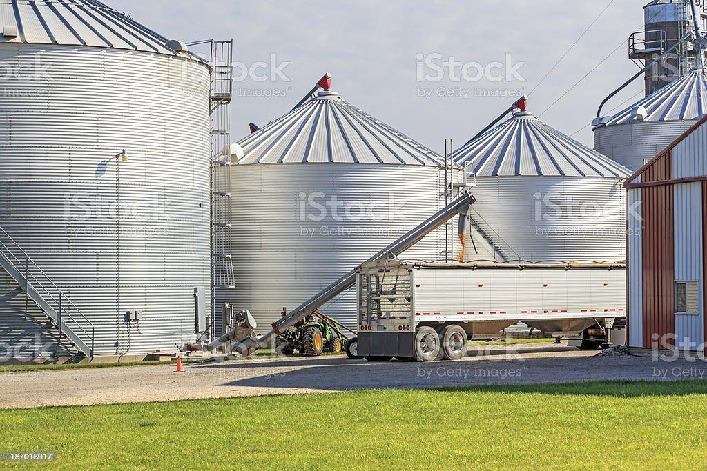 Filling grain truck with corn stock photo