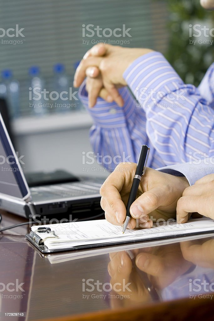 filling in a form royalty-free stock photo