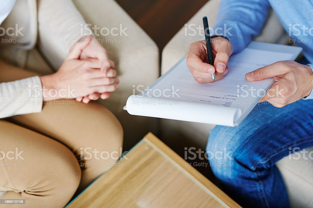 Filling in form stock photo