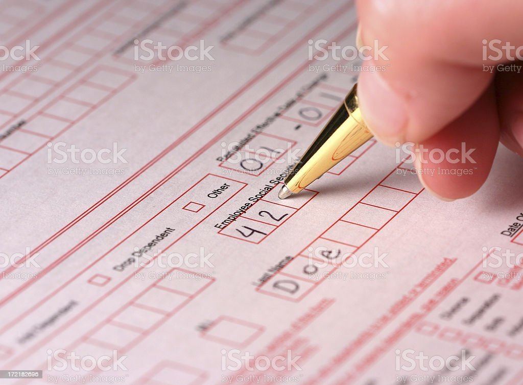 Filling in Social Security Number - Insurance/Healthcare royalty-free stock photo