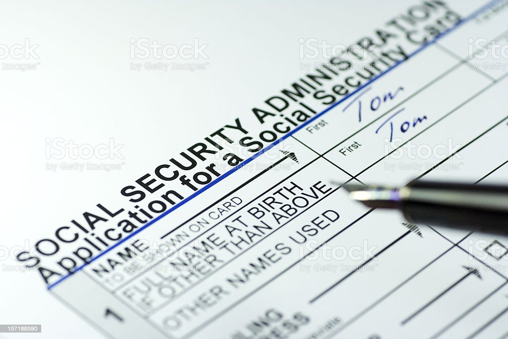 Filling out a Social Security Card form royalty-free stock photo