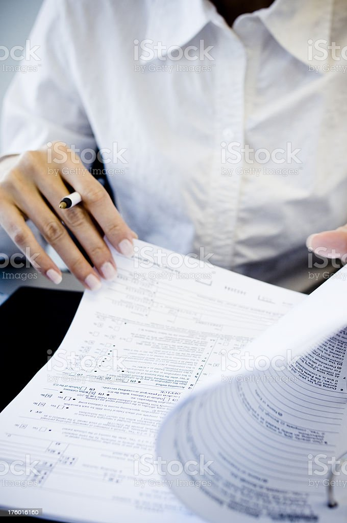 Filling Out Form stock photo