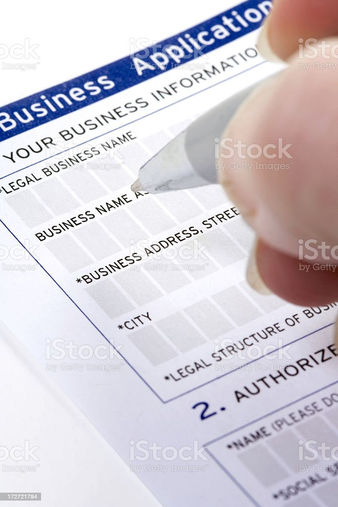 Filling Out Paperwork Vertical royalty-free stock photo