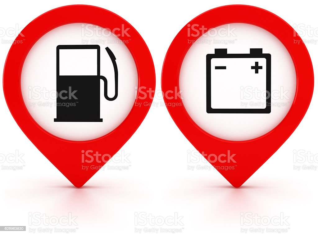 Filling station location pins stock photo