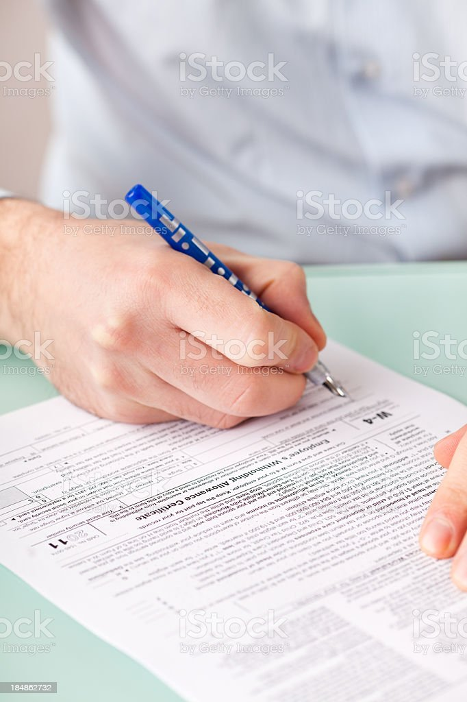 Filling Tax Form royalty-free stock photo