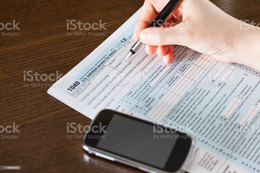 Filling Tax Forms royalty-free stock photo