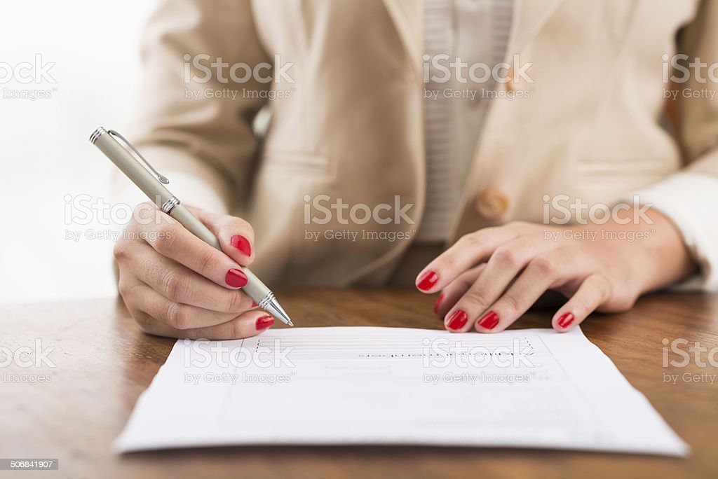 Filling the document stock photo