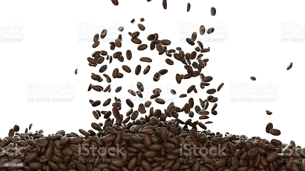 Filling the frame with roasted coffee beans isolated stock photo