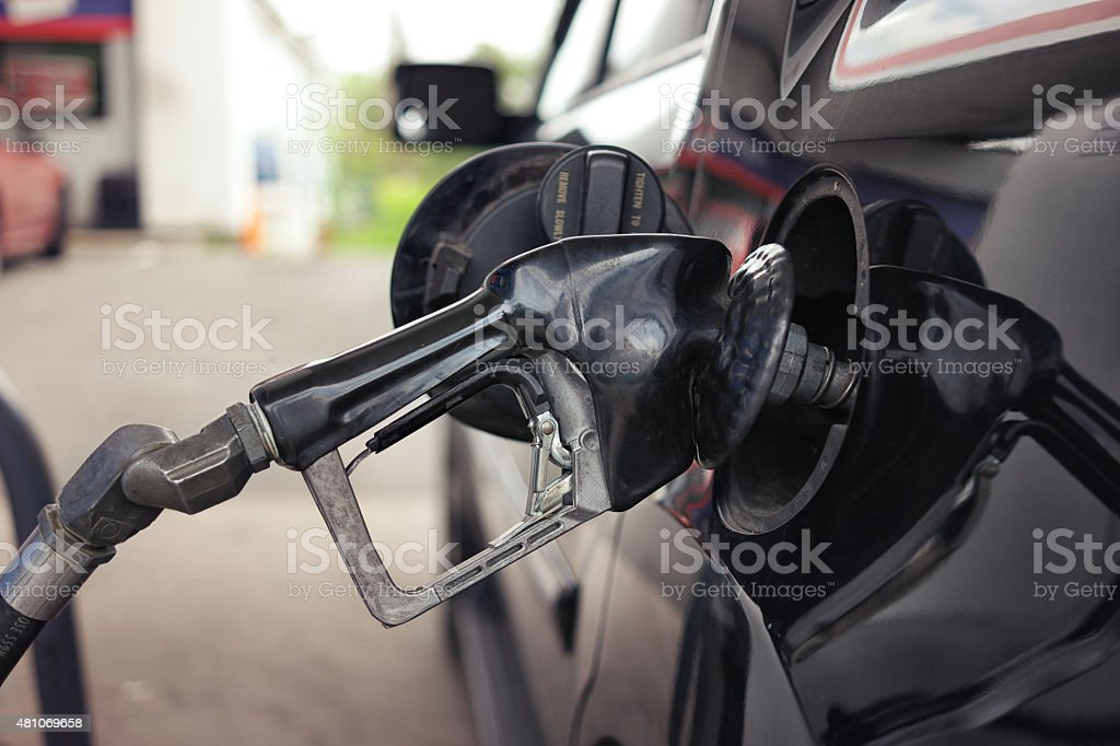 Filling up with gas stock photo
