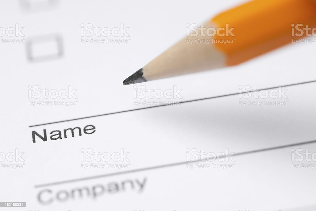 Filling your name royalty-free stock photo