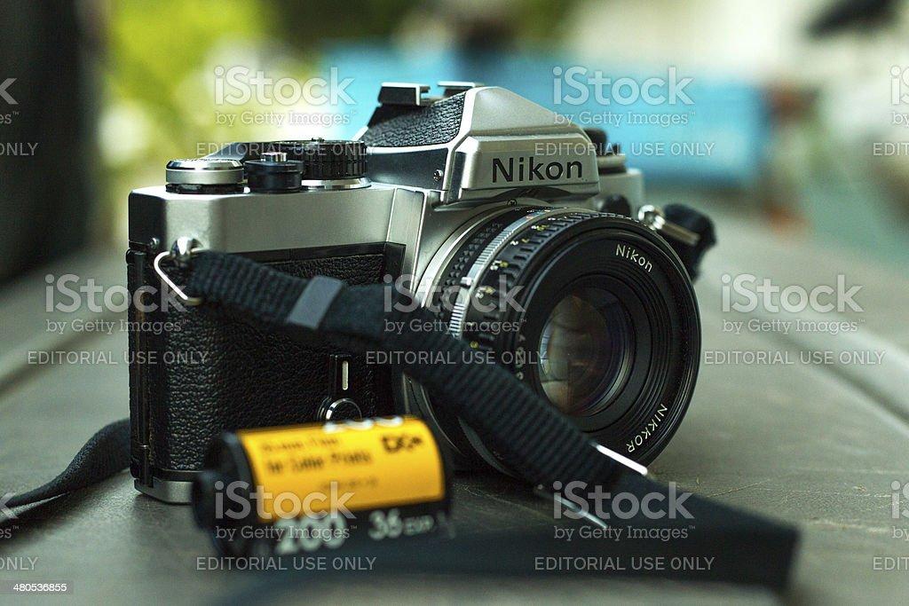 Film camera and negative film stock photo
