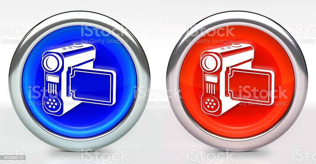 Film Camera Icon on Button with Metallic Rim stock photo