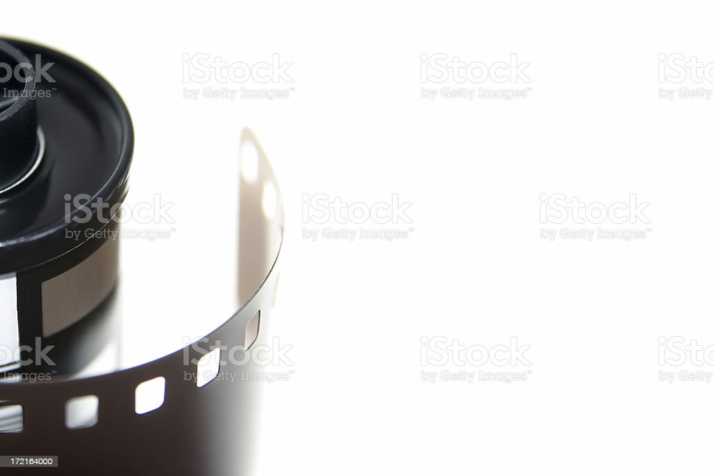 Film canister on left side stock photo