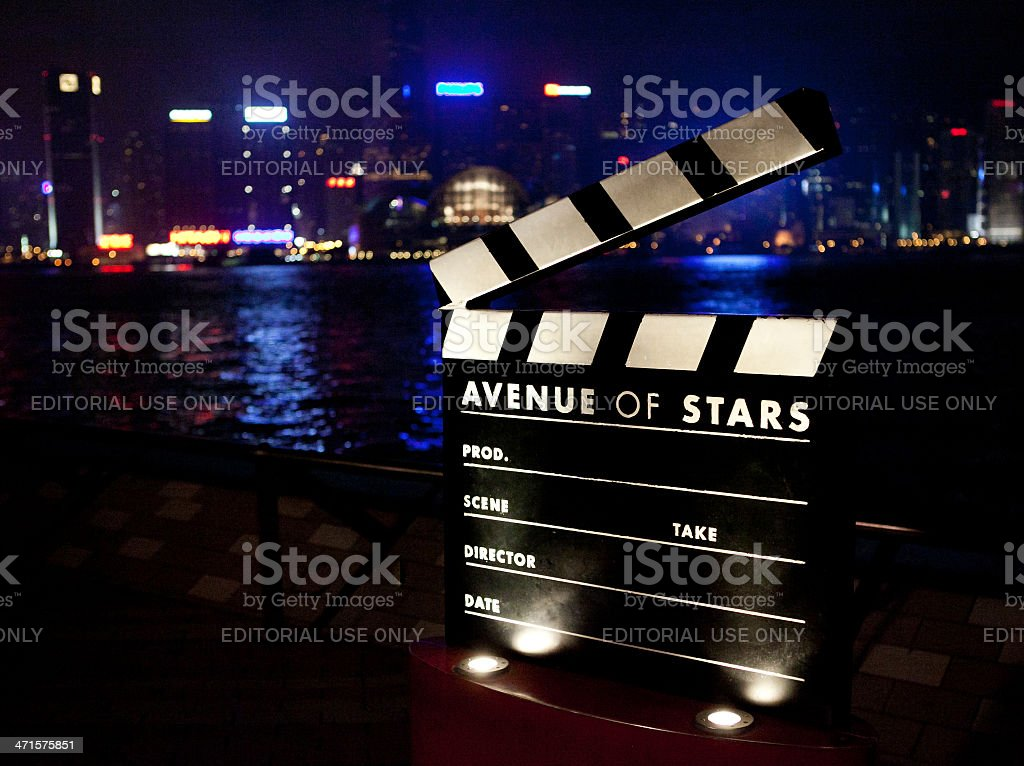 Film clapboard monument at Avenue of Stars in Hong Kong stock photo