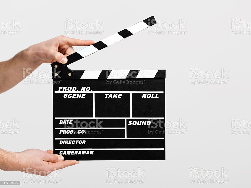 Film clapperboard prepared for new scene stock photo