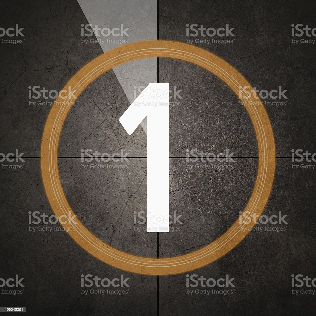 Film countdown with grunge background stock photo