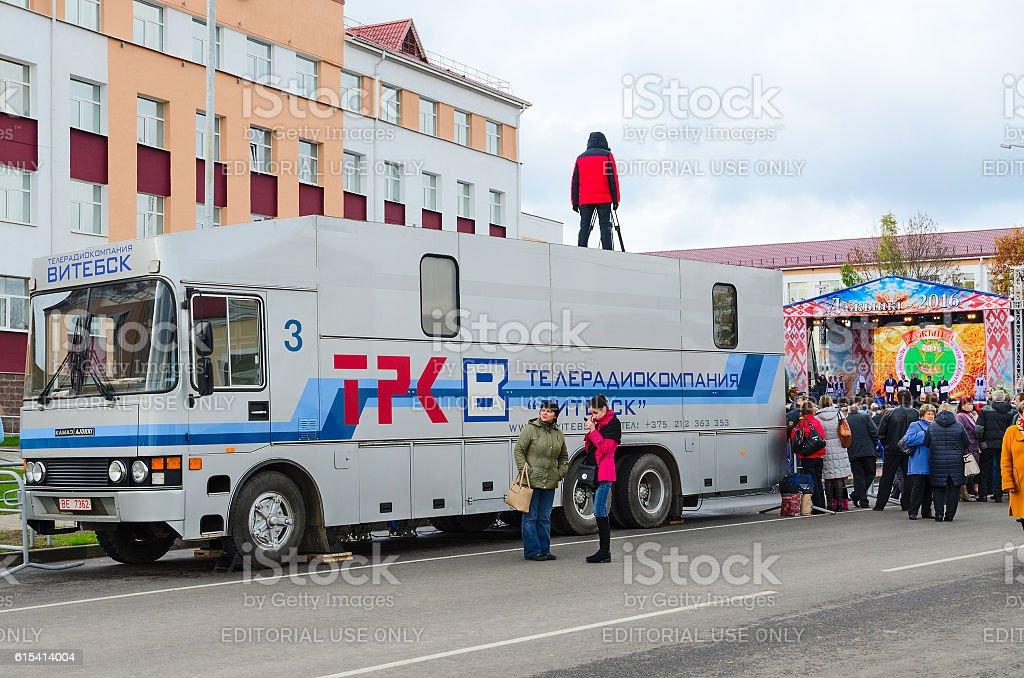 Film crew of television and radio company Vitebsk, Belarus stock photo