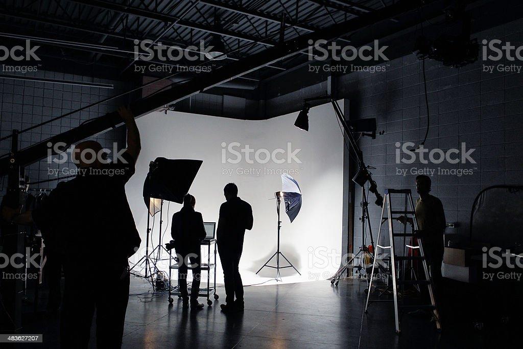 Film Crew Working on Set stock photo