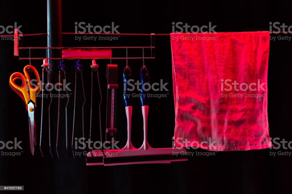 film development tools used in dark room stock photo