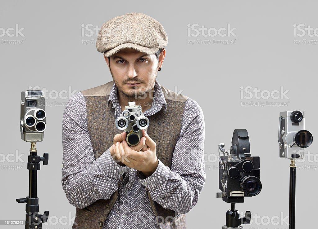 Film director behind camera stock photo
