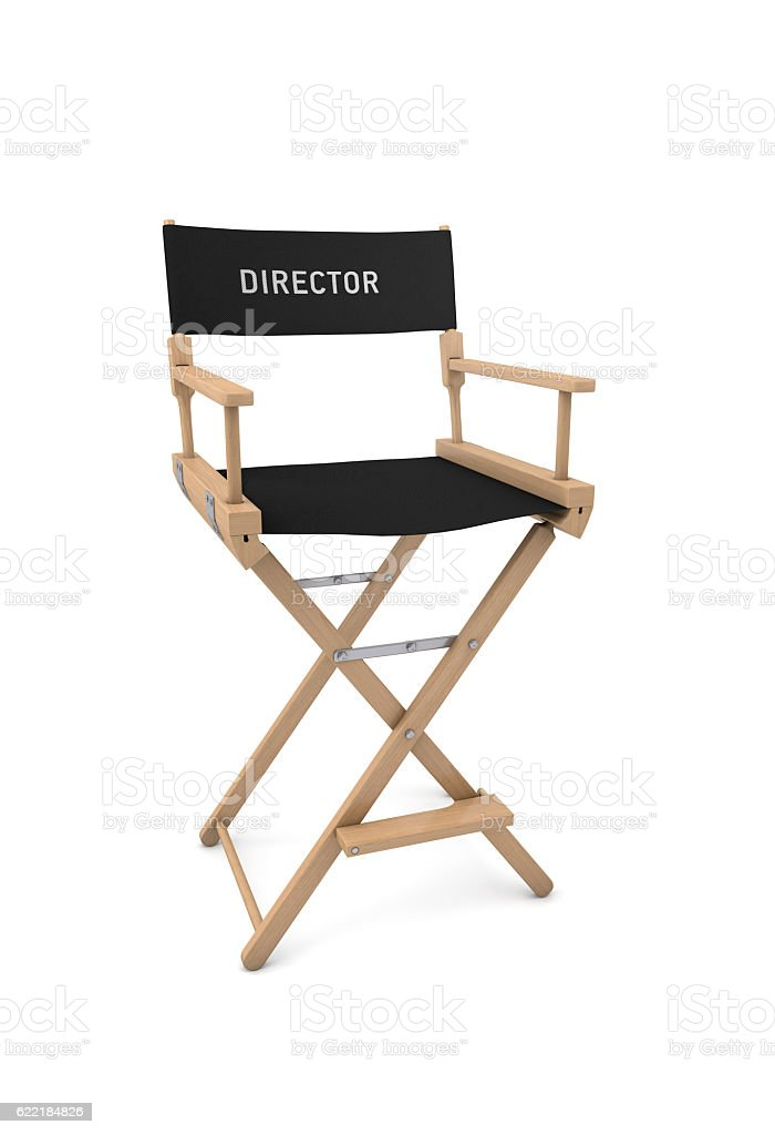 Film director's chair isolated on white. 3D rendering stock photo