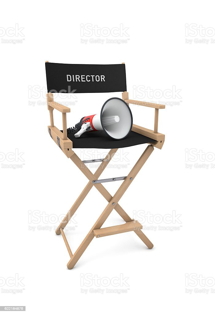 Film director's chair with megaphone isolated on white. 3D rende stock photo