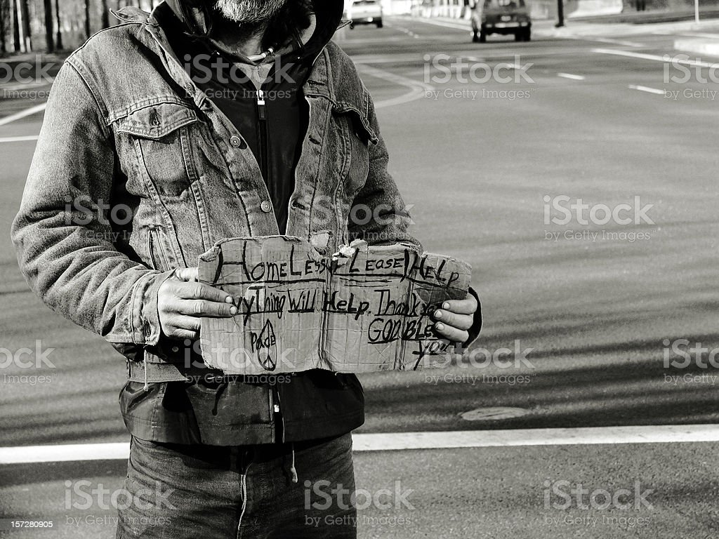Film Grain Effect of a Homeless Man royalty-free stock photo