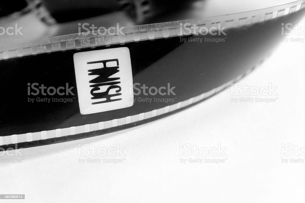 film in black and white with the word finish stock photo