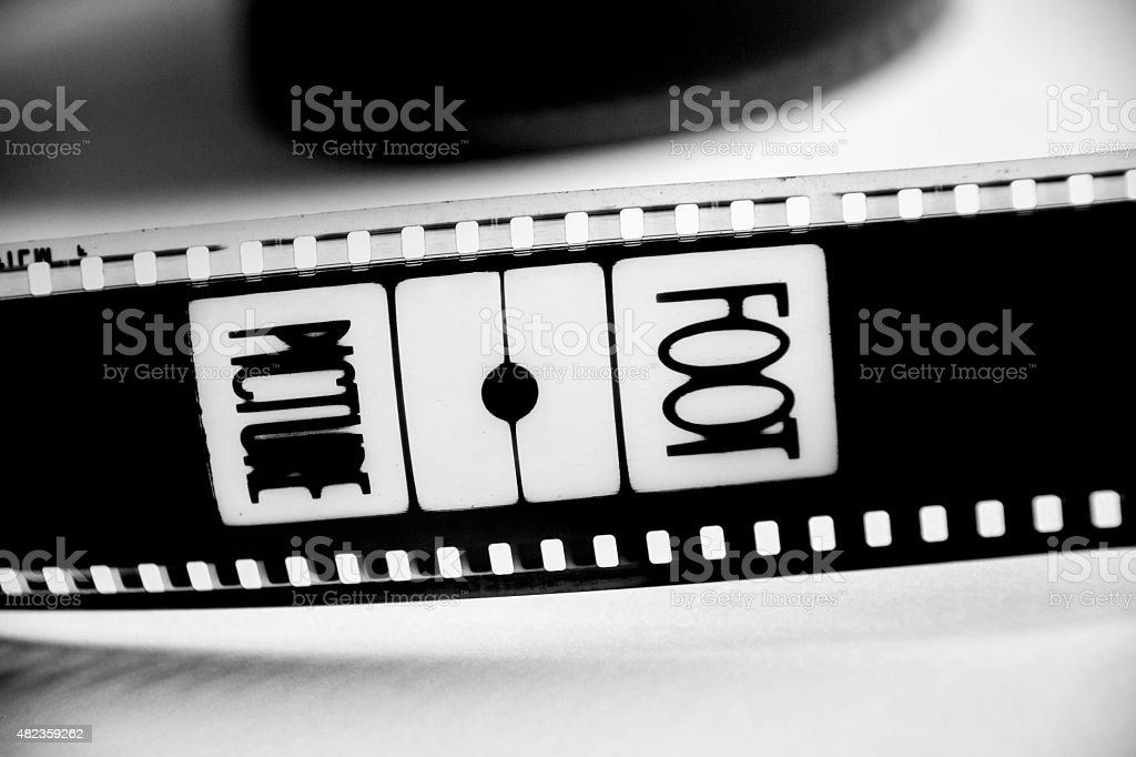 Film in black and white with the word picture stock photo
